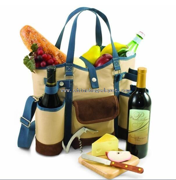 Foods cooler bag with utensils