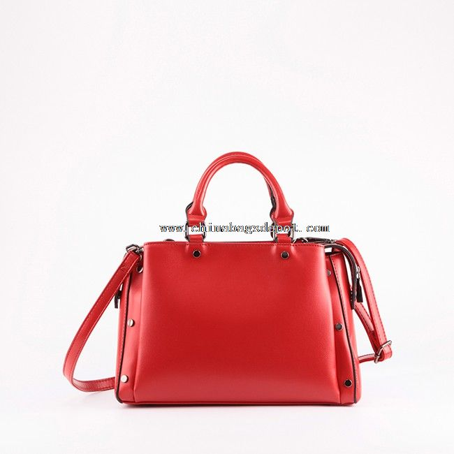 Leather designer handbags woman in red
