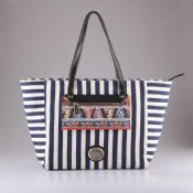 Printed pocket big capacity stripe canvas tote bag images