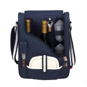 Wine bottle coles cooler bag with picnic utensils for 2 person images