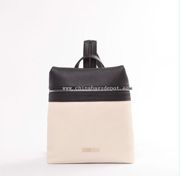 PU color block backpack