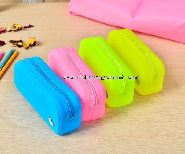 Soft student silicone pencil bag
