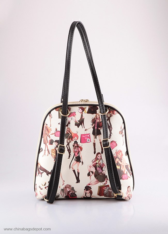 Front pocket cool girl printed backpack